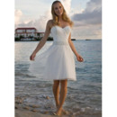 Classic Charming A-Line Sweetheart Knee Length Short Beach Wedding Dress