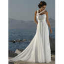 Cheap Classy A-line Halter Chapel Train Chiffon Summer Beach Bridal Wedding Dress