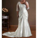 Mermaid Sweep Train Satin Plus Size Wedding Dress with Sleeves