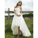 Inexpensive Chic A-Line Sweetheart High-Low Hem Wedding Dress/ Unique Asymmetrical Garden Bridal Gown