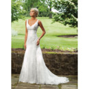 Elegant Mermaid V-Neck Chapel Train Tulle Garden Wedding Dress/ Bridal Gown