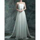 Charming Strapless Sleeveless Sweep Train Chiffon Wedding Dress
