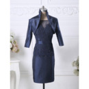 Affordable Column Knee Length Taffeta Mother Dress with Jackets
