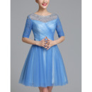 Womens Inexpensive Short Taffeta Organza Cocktail Dress with Half Sleeves