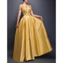 Women Elegant Floor Length Satin Prom Evening Dress with Short Sleeves