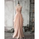 Custom Designer Strapless Floor Length Chiffon Pick-Up Skirt Formal Evening Dress