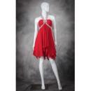 Junior Empire Waist Halter Sleeveless Short Red Chiffon Homecoming Dress
