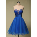 Classy A-Line Sweetheart Short Organza Junior Blue Homecoming Dress