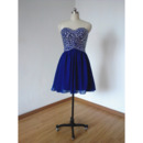 Classic Style Sweetheart Short Blue Chiffon Rhinestone Homecoming Dress
