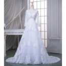 Affordable Modern V-Neck Court Train Tulle Wedding Dress with Long Sleeves