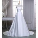 Classic A-Line Sweetheart Sleeveless Chapel Train Satin Wedding Dress