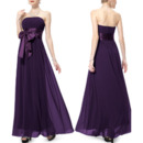 2018 Simple Strapless Long Beach Purple Chiffon Bridesmaid Dress with Sashes