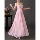 Elegant Sweetheart Maxi Chiffon Pleated Bridesmaid/ Wedding Party Dress
