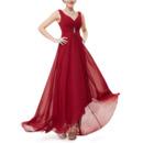 Romantic Sweetheart High-Low Chiffon Summer Bridal Bridesmaid Dress with Straps
