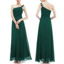 Elegant One Shoulder Spaghetti Straps Long Chiffon Bridesmaid Dress