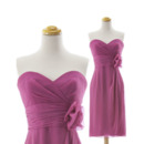 Affordable Column Sweetheart Knee Length Chiffon Beach Bridesmaid Dress