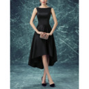 Classic Bateau Sleeveless High-Low Satin Black Cocktail Party Dress