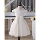 Adorable Girls Knee Length Lace White First Communion Dress with Cap Sleeves