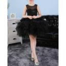 Lovely Custom Sleeveless Short Black Bubble Skirt Little Girls Tutu Dress