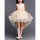 2018 Designer High-Low Short Lace Little Girls Party Dress with Bows