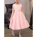 2018 New A-Line Tea Length Chiffon Applique Flower Girl Dress