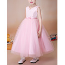 Lovely Princess Ball Gown Sleeveless Tea Length Satin Organza Flower Girl Dress