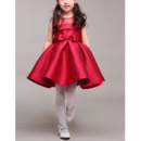 Inexpensive Stunning Ball Gown Sleeveless Mini/ Short Red Satin Flower Girl Dress