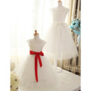 Pretty Kid's A-Line Square Satin Tulle Flower Girl Dress with Sashes