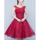 2018 Hipster A-Line Short Lace Organza Formal Homecoming Dress