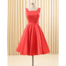 Elegant A-Line Square Knee Length Satin Homecoming/ Party Dress