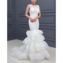 2018 Stylish Mermaid Sleeveless Sweep Train Layered Skirt Wedding Dress