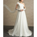 Elegant One Shoulder Sweep Train Lace Organza Wedding Dress