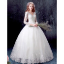 Custom Classic Ball Gown V-Neck Floor Length Wedding Dress with Long Sleeves