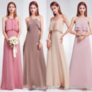 Elegant Spaghetti Straps Long Chiffon Bridesmaid Dress with Different Styles