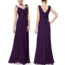 Inexpensive V-Neck Long Chiffon Bridesmaid Dress with Straps