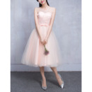 2018 Inexpensive Sweetheart Sleeveless Knee Length Bridesmaid Wedding Dress