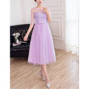 Empire Waist Tea Length Lace Tulle Bridesmaid Dress with Half Sleeves