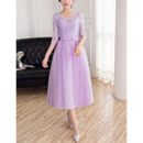 Elegant V-Neck Tea Length Bridesmaid Dress with Half Lace Sleeves