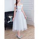 Inexpensive A-Line Off-the-shoulder Tea Length Bridesmaid Dress