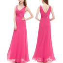 2018 Blush V-Neck Sleeveless Floor Length Chiffon Bridesmaid Dress