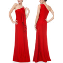2018 Simple New Style One Shoulder Long Red Formal Evening Dress