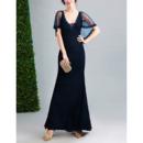 Elegant Sheath V-Neck Floor Length Lace Formal Evening Dress with Shawl