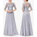 2018 Elegant Long Lace Formal Mother of the Bride Dress with Half Sleeves