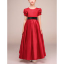 Inexpensive Ankle Length Red Little Girls Holiday Dress with Short Sleeves