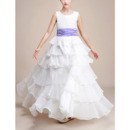2018 Stylish Floor Length Chiffon Layered Skirt Flower Girl Dress