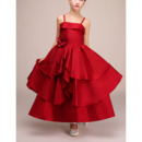Stunning Spaghetti Straps Ankle Length Red Satin Flower Girl Dress
