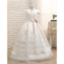 Adorable Floor Length Satin Flower Girl Dress with Cap Sleeves