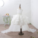 Affordable Beautiful Short Ruffle Skirt Flower Girl Dress with Detachable Train