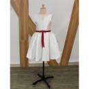 Inexpensive Cute Sleeveless Short Taffeta Flower Girl Dresses with Belts