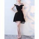 Cute Off-the-shoulder Mini/ Short Satin Little Black Formal Cocktail Party Dress